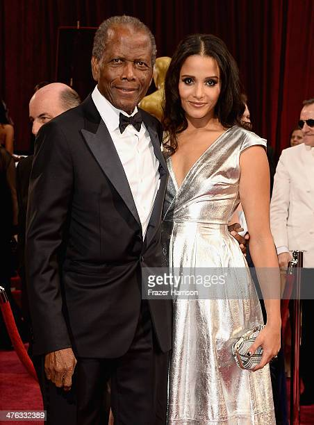 Actor Sidney Poitier and his daughter Sydney Tamiia Poitier attend the Oscars held at Hollywood & Highland Center on March 2, 2014 in Hollywood,...