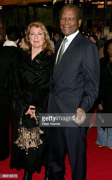 Actor Sidney Poitier and his wife Joanna Shimkus attend the Broadway opening of The Color Purple at the Broadway Theatre December 1 2005 in New York...