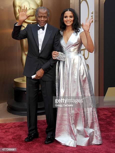 Actor Sidney Poitier and Sydney Tamiia Poitier arrive at the 86th Annual Academy Awards at Hollywood Highland Center on March 2 2014 in Hollywood...