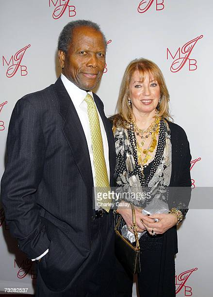 Actor Sidney Poitier and wife Actress Joanna Shimkus arrive at the Will and Jada Smith party honoring Grammy nominee Mary J. Blige held at at...