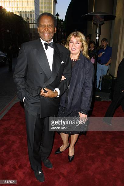 "Actor Sidney Poitier and wife Joanna Shimkus arrive at ""The Larry King Cardiac Foundation"" black tie gala June 4, 2001 in Beverly Hills, CA."