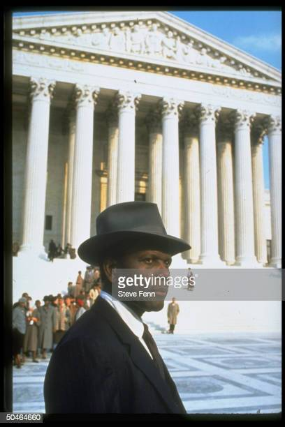 Actor Sidney Poitier as Thurgood Marshall outside Supreme Court bldg in scene fr ABC TV movie Separate but Equal