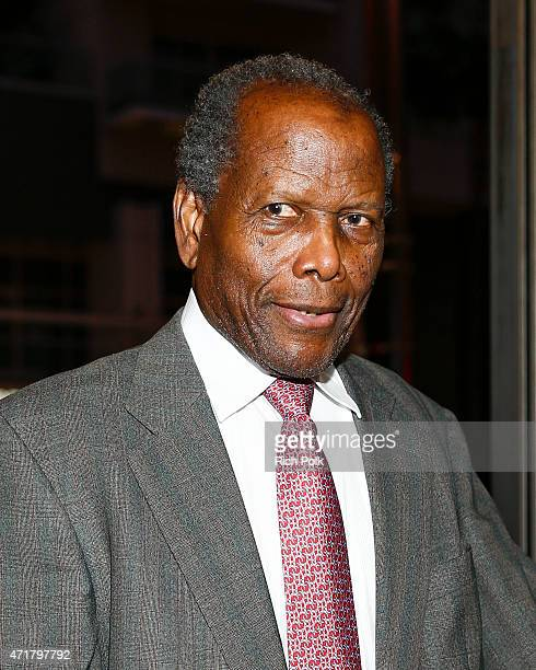Actor Sidney Poitier attends MOTOWN THE MUSICAL at the Pantages Theatre on April 30 2015 in Hollywood California