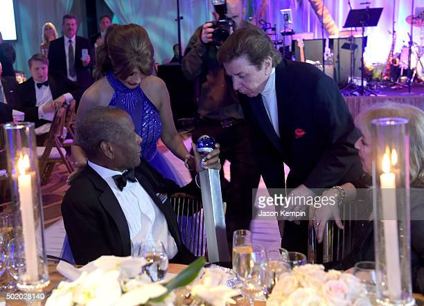Actor Sidney Poitier Brigitte Sherman and singer Bobby Sherman attend the Brigitte and Bobby Sherman Children's Foundation's 6th Annual Christmas...