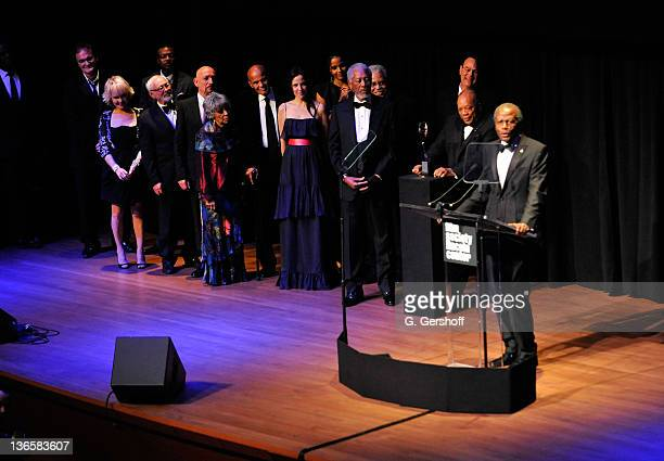 Actor Sidney Poitier speaks onstage at The Film Society of Lincoln Center's presentation of the 38th Annual Chaplin Award at Alice Tully Hall on May...