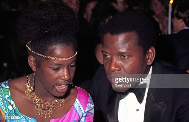 Actor Sidney Poitier talking to his daughter on June 101970 in New York New York