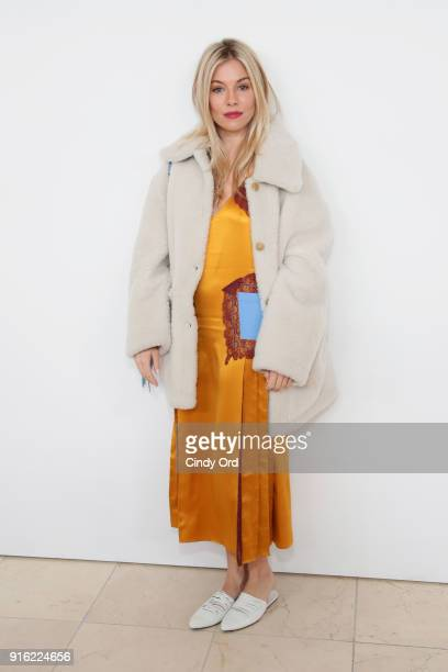 Actor Sienna Miller attends the Tory Burch Fall Winter 2018 Fashion Show during New York Fashion Week at Bridge Market on February 9 2018 in New York...