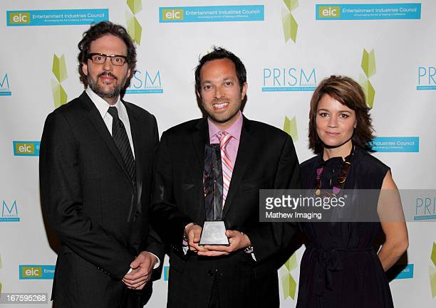 Actor Silas Weir Mitchel Production manager Jonathan Mussman recipient of the award for documentary program mental health for 'Demi Lovato Stay...