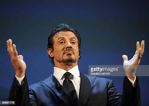US actor Silvester Stallone delivers an address before receiving the JaegerLecoultre glory to the filmmaker award during a ceremony at the Venice...