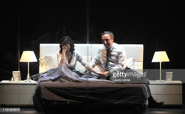 Actor Silvio Orlando and actress Lorenza Indovina perfom during 'Se non ci sono altre domande' at Teatro Eliseo on March 15 2011 in Rome Italy