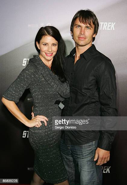 Actor Simmone Jade MacKinnon and Domonic James arrive for the world premiere of 'Star Trek' at the Sydney Opera House on April 7 2009 in Sydney...