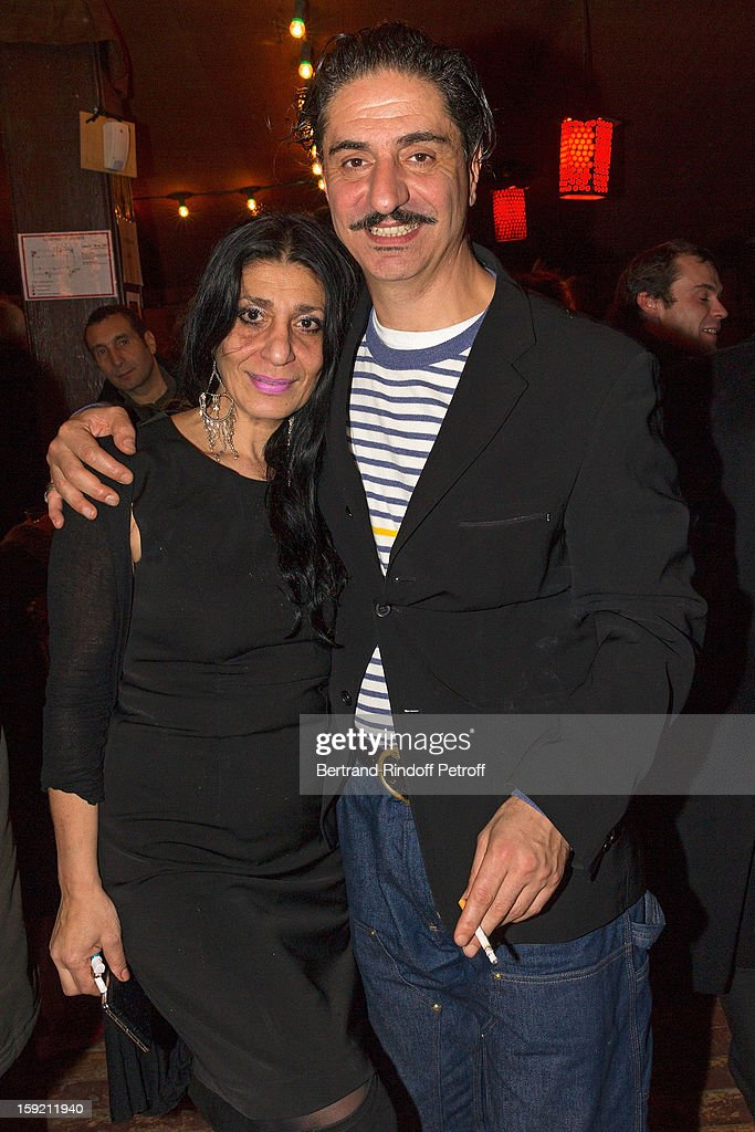 Actor Simon Abkarian (R) and his sister Maral pose after Abkarian performed on stage during the premiere of 'Menelas rebetiko rapsodie' he wrote and directed, at Le Grand Parquet on January 9, 2013 in Paris, France.