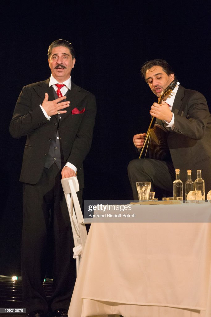 Actor Simon Abkarian (L) and musician Gregoris Vassila perform on stage during the premiere of 'Menelas rebetiko rapsodie', that Abkarian wrote and directed, at Le Grand Parquet on January 9, 2013 in Paris, France.