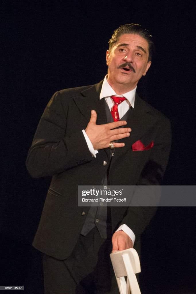 Actor Simon Abkarian performs on stage during the premiere of 'Menelas rebetiko rapsodie', that he also wrote and directed, at Le Grand Parquet on January 9, 2013 in Paris, France.