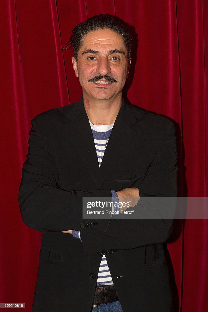 Actor Simon Abkarian poses after performing on stage during the premiere of 'Menelas rebetiko rapsodie' he wrote and directed, at Le Grand Parquet on January 9, 2013 in Paris, France.