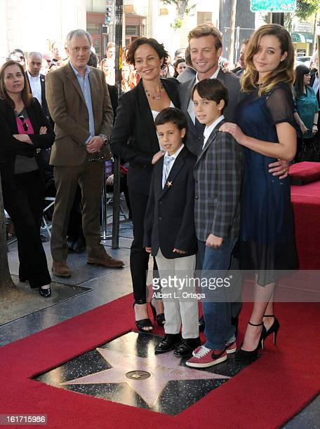 Actor Simon Baker and family participate in Simon Baker's Star Ceremony on The Hollywood Walk Of Fame on February 14 2013 in Hollywood California