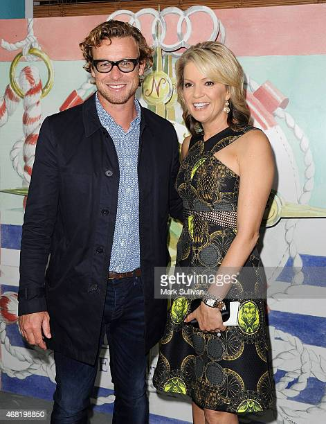 Actor Simon Baker and television personality Sandra Sully attend the Audi Hamilton Island Race Week launch at North Bondi Fish on March 31, 2015 in...