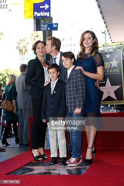 Actor Simon Baker and wife Rebecca Rigg and family at Simon Baker's Star Ceremony On The Hollywood Walk Of Fame on February 14 2013 in Hollywood...