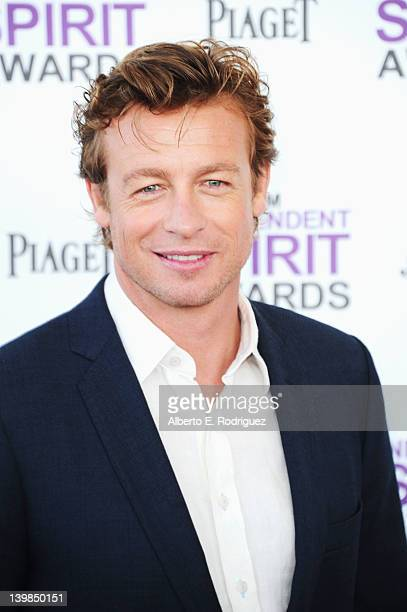 Actor Simon Baker arrives at the 2012 Film Independent Spirit Awards on February 25 2012 in Santa Monica California
