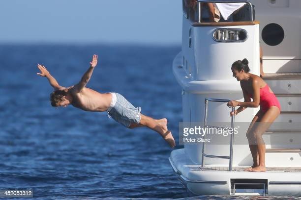 Actor Simon Baker is sighted with wife Rebecca Rigg in Saint Tropez on a yacht July 11 2014 in St Tropez France