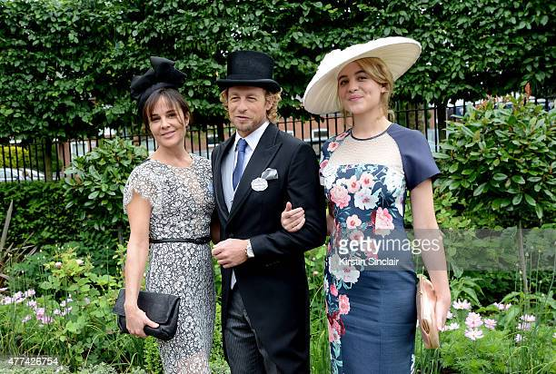 Actor Simon Baker with his wife Rebecca Rigg and daughter Stella attend Royal Ascot 2015 at Ascot racecourse on June 17 2015 in Ascot England