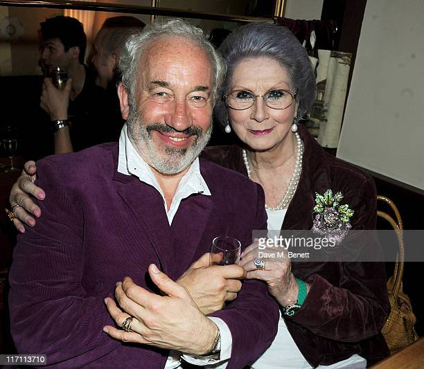 Actor Simon Callow and April Ashley attend an after party following press night of Being Shakespeare at Walkers on June 22 2011 in London England