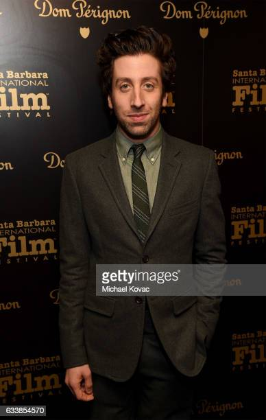 Actor Simon Helberg visits the Dom Perignon Lounge before receiving the Virtuosos Award at The Santa Barbara International Film Festival on February...