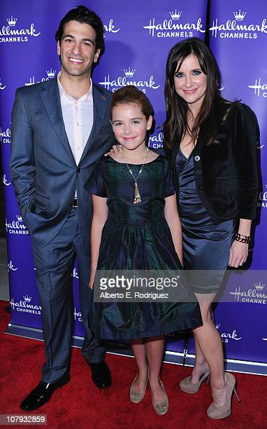 Actor Simon Kassianides actress Kiernan Shipka and actress Kellie Martin arrive to Hallmark Channel's 2011 TCA Winter Tour Evening Gala on January 7...