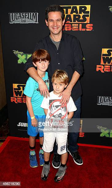 Actor Simon Kinberg and his family attend the Screening of Disney XD's 'Star Wars Rebels Spark of Rebellion' at the AMC Century City 15 theater on...