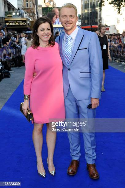 Actor Simon Pegg and his wife Maureen McCann attend the World Premiere of The World's End at Empire Leicester Square on July 10 2013 in London England