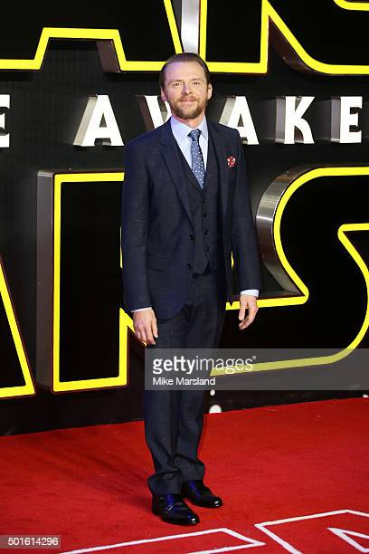 Actor Simon Pegg attends the European Premiere of 'Star Wars The Force Awakens' at Leicester Square on December 16 2015 in London England