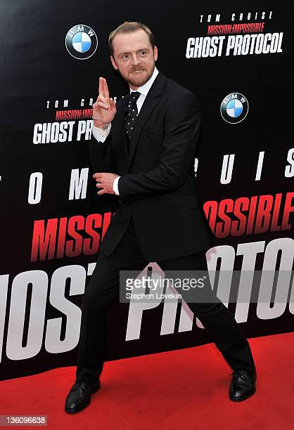 Actor Simon Pegg attends the Mission Impossible Ghost Protocol US premiere at the Ziegfeld Theatre on December 19 2011 in New York City
