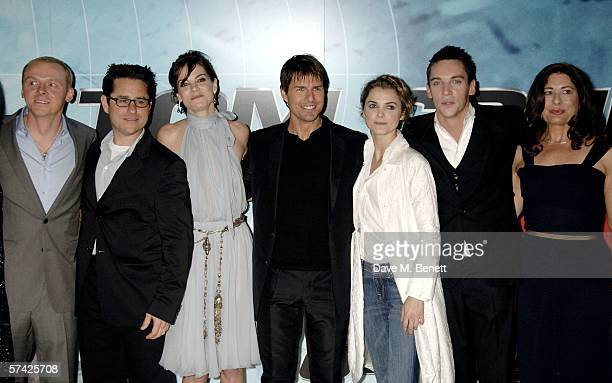 Actor Simon Pegg director JJ Abrams actors Michelle Monaghan Tom Cruise Keri Russell Jonathan Rhys Meyers and producer Paula Wagner arrive at the UK...