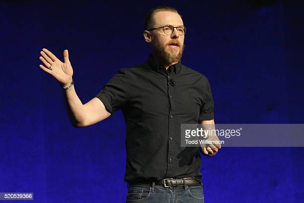 Actor Simon Pegg speaks onstage during the CinemaCon 2016 Gala Opening Night Event: Paramount Pictures Highlights its 2016 Summer and Beyond Films at...