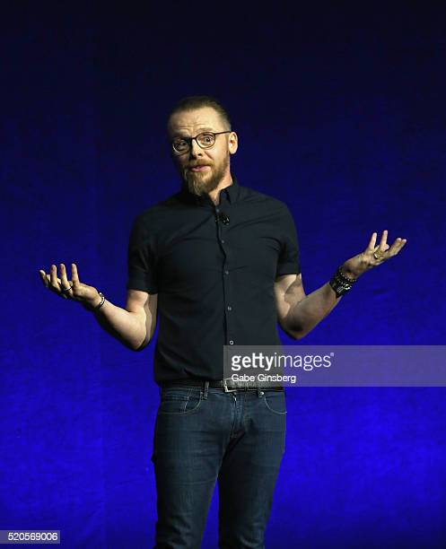 Actor Simon Pegg speaks onstage speaks onstage during the CinemaCon 2016 Gala Opening Night Event Paramount Pictures Highlights its 2016 Summer and...
