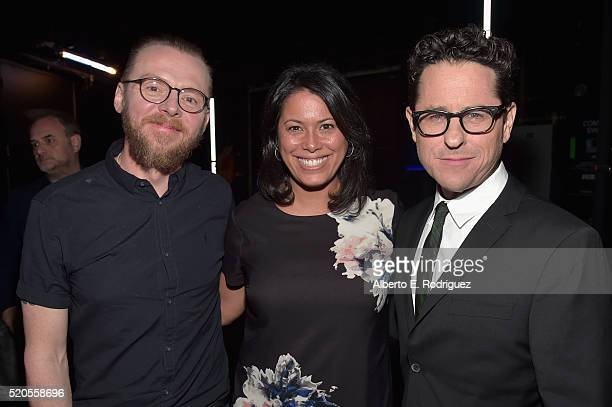 Actor Simon Pegg, VP of In-Theater Marketing and Sales Domestic Distribution Melanie Valera and director J.J. Abrams attend the CinemaCon 2016 Gala...