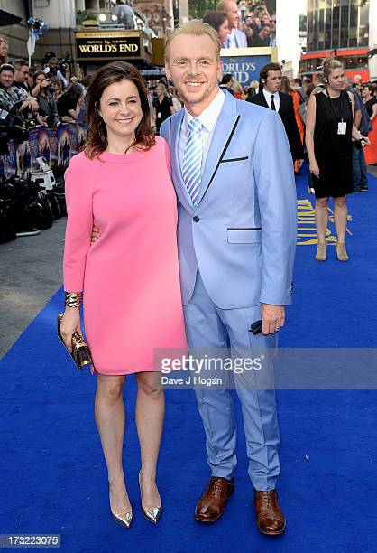 Actor Simon Pegg with wife Maureen Pegg attend 'The World's End' world premiere at the Empire Leicester Square on July 10 2013 in London England