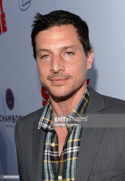 Actor Simon Rex arrives for the premiere of Dimension Films' Scary Movie 5 at ArcLight Cinemas Cinerama Dome on April 11 2013 in Hollywood California