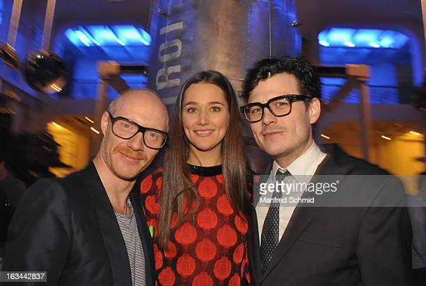 Actor Simon Schwarz actor Alissa Jung and actor Manuel Rubey attend the after party for the premiere of 'Zweisitzrakete' at Technisches Museum on...