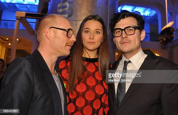 Actor Simon Schwarz, actor Alissa Jung and actor Manuel Rubey attend the after party for the premiere of 'Zweisitzrakete' at Technisches Museum on...