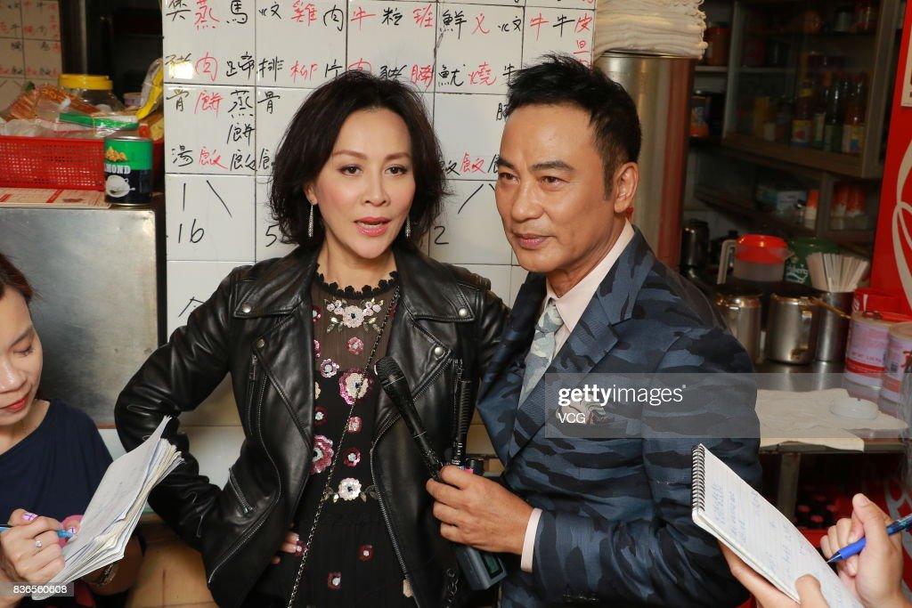 Actor Simon Yam Tat-wah and actress Carina Lau attend the shooting of director Patrick Kong's new movie on August 21, 2017 in Hong Kong, China.