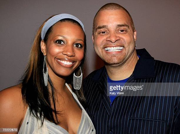 Actor Sinbad and his wife Meredith Adkins attend Mercedes Benz Fashion Week at Smashbox Studios on October 19 2006 in Culver City California