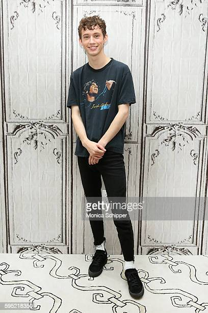 Actor singer and YouTube personality Troye Sivan attends AOL Build Presents Troye Sivan Discussing His RIAA CertifiedGold Debut Album 'Blue...
