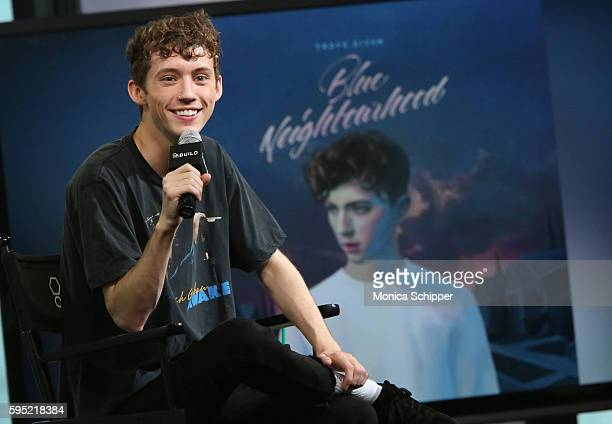 Actor singer and YouTube personality Troye Sivan speaks at AOL Build Presents Troye Sivan Discussing His RIAA CertifiedGold Debut Album 'Blue...