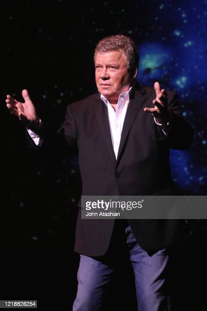 Actor, singer, author, producer, spokesman and comedian William Shatner is shown performing on stage during a stand up concert appearance on February...