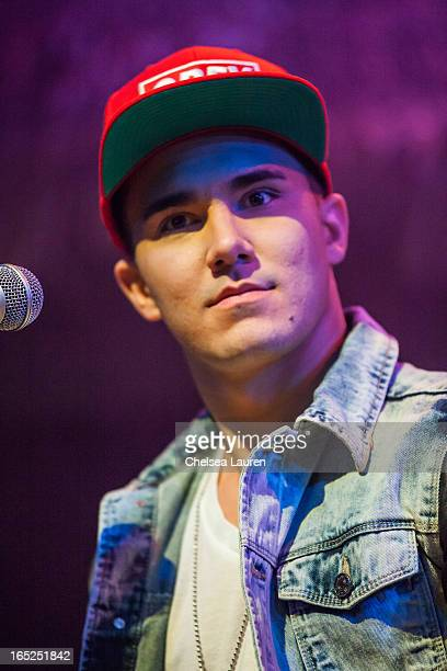 Actor / singer Carlos Pena of Big Time Rush performs at the press conference and tour announcement at House of Blues on April 1 2013 in West...