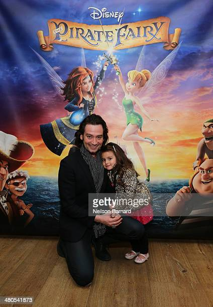 Actor Singer Constantine Maroulis and daugher Malena James attend Disney's 'The Pirate Fairy' special screening at the Crosby St Hotel on March 25...