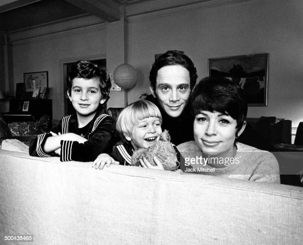 Actor, singer, dancer Joel Grey photographed with his wife Jo Wilder and children Jennifer and James in New York City in 1967.