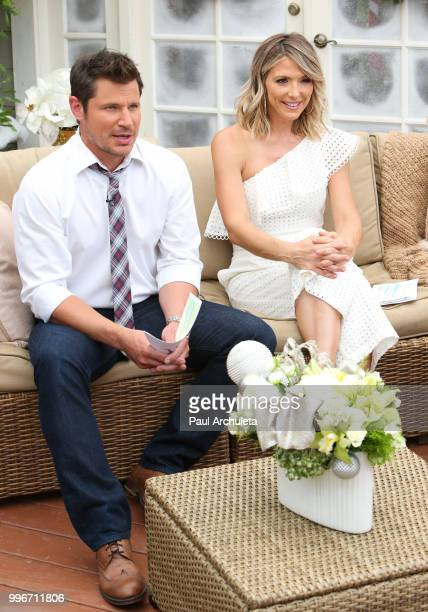 Actor / Singer Nick Lachey and TV Host Debbie Matenopoulos visit Hallmark's 'Home Family' celebrating 'Christmas In July' at Universal Studios...