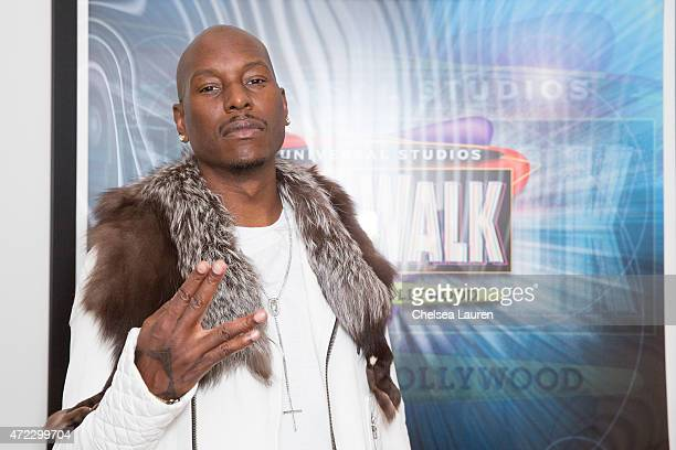 Actor / singer Tyrese Gibson poses backstage before his performance at 5 Towers Outdoor Concert Arena on May 5 2015 in Universal City California